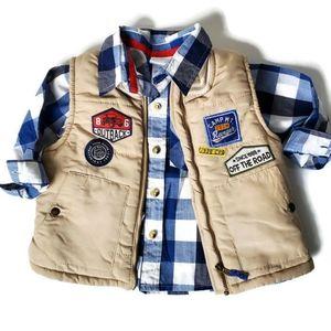 Nannette Kids Boy's 2T Puffer Vest Button Down Set